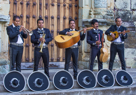 OAXACA , MEXICO  - NOV 02 : Mariachis perform during the carnival of the Day of the Dead in Oaxaca, Mexico, on November 02 2015. The Day of the Dead is one of the most popular holidays in Mexico Editorial