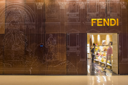 lvmh: LAS VEGAS - DEC 18 : Exterior of a Fendi store in Las Vegas strip on December 18 , 2015.  Fendi is a multinational luxury goods brand owned by LVMH Moet Hennessy Louis Vuitton. Editorial