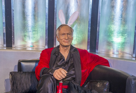 display figure: LAS VEGAS - OCT 23 : A waxwork of Hue Haffner at The Madame Tussauds museum in Las Vegas on October 23 2015 , The two-floor 30,000-square-foot museum has 100-plus wax replicas. Editorial