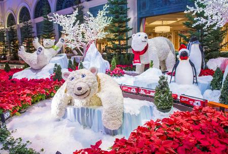 each year: LAS VEGAS - DEC 18 : Winter season in Bellagio Hotel Conservatory & Botanical Gardens on December 18 ,2015 in Las Vegas. There are five seasonal themes that the Conservatory undergoes each year.