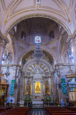 oaxaca: OAXACA , MEXICO - NOV 02 : The Basilica of Our Lady of Solitude in Oaxaca , Mexico on November 02 2015. The Basilica is part of the Historic Center of Oaxaca an UNESCO World Heritage Site since 1987