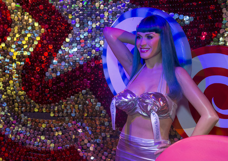 LAS VEGAS - OCT 23 : A waxwork of Katy Perry at The Madame Tussauds museum in Las Vegas on October 23 2015 , The two-floor 30,000-square-foot museum has 100-plus wax replicas. Editorial