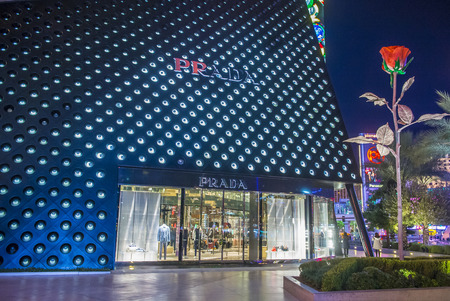 prada: LAS VEGAS - DEC 18 : Exterior of a Prada store in Las Vegas strip on December 18 , 2015. Prada is an Italian luxury fashion house founded in 1913 in Milan.