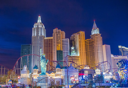 manhatan: LAS VEGAS - NOV 17 : New York-New York Hotel & Casino in Las Vegas on November 17 2015 , This hotel simulates the real New York City skyline and It was opened in 1997. Editorial