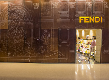 luxury goods: LAS VEGAS - DEC 18 : Exterior of a Fendi store in Las Vegas strip on December 18 , 2015.  Fendi is a multinational luxury goods brand owned by LVMH Moet Hennessy Louis Vuitton. Editorial