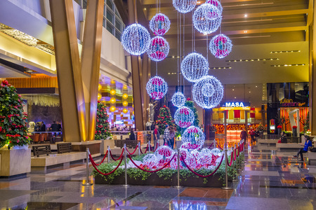 aria: LAS VEGAS - DEC 18 : Christmas decorations at the Aria hotel in Las Vegas on December 18 2015. The Aria was opened on 2009 and is the worlds largest hotel to receive LEED Gold certification