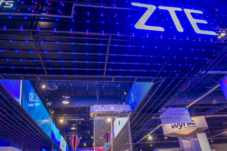 LAS VEGAS - JAN 06 : The ZTE booth at the CES show held in Las Vegas on January 06 2016 , CES is the world's leading consumer-electronics show.