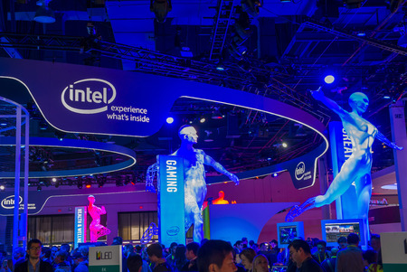 intel: LAS VEGAS - JAN 08 : The Intel booth at the CES show held in Las Vegas on January 08 2016 , CES is the worlds leading consumer-electronics show. Editorial
