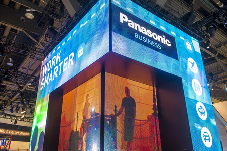 LAS VEGAS - JAN 08 : The Panasonic booth at the CES show held in Las Vegas on January 08 2016 , CES is the world's leading consumer-electronics show.
