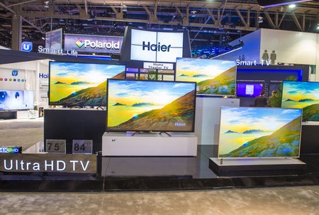 LAS VEGAS - JAN 08 : The Haier booth at the CES show held in Las Vegas on January 06 2018 , CES is the world's leading consumer-electronics show.