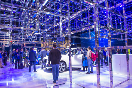LAS VEGAS - JAN 08 : The Audi booth at the CES Show in Las Vegas, Navada, on January 08, 2016. CES is the world's leading consumer-electronics show.