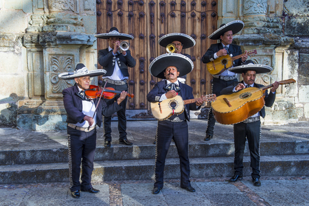 oaxaca: OAXACA , MEXICO  - NOV 02 : Mariachis perform during the carnival of the Day of the Dead in Oaxaca, Mexico, on November 02 2015. The Day of the Dead is one of the most popular holidays in Mexico Editorial