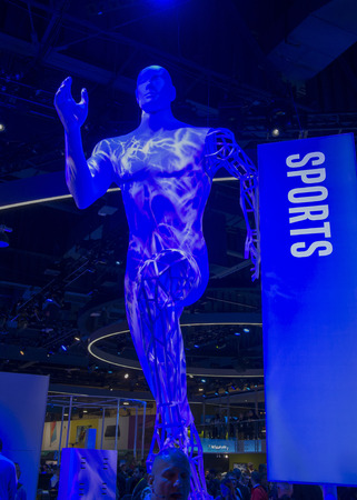 intel: LAS VEGAS - JAN 06 : The Intel booth at the CES show held in Las Vegas on January 06 2016 , CES is the worlds leading consumer-electronics show.