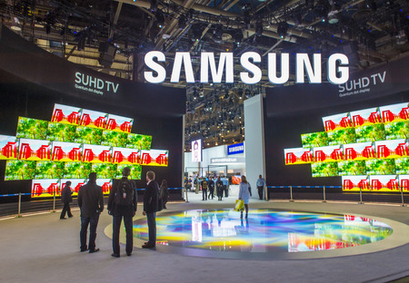 LAS VEGAS - JAN 08 : The Samsung booth at the CES show held in Las Vegas on January 08 2016 , CES is the world's leading consumer-electronics show.
