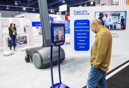 LAS VEGAS - JAN 06 : The beam booth at the CES show held in Las Vegas on January 06 2016 , CES is the world's leading consumer-electronics show.