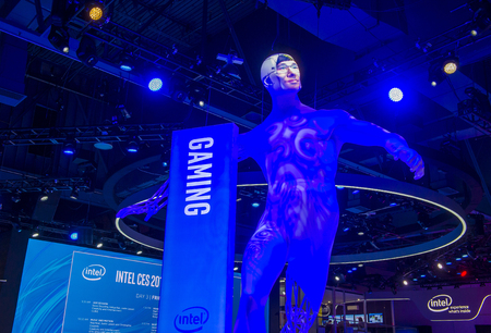 LAS VEGAS - JAN 08 : The Intel booth at the CES show held in Las Vegas on January 08 2016 , CES is the world's leading consumer-electronics show.
