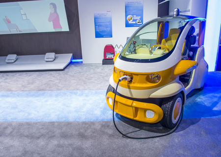 LAS VEGAS - JAN 08 : Electric car at the Denso booth at the CES Show in Las Vegas, Navada, on January 08, 2016. CES is the world's leading consumer-electronics show. Editorial