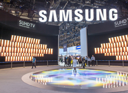 samsung: LAS VEGAS - JAN 08 : The Samsung booth at the CES show held in Las Vegas on January 08 2016 , CES is the worlds leading consumer-electronics show.