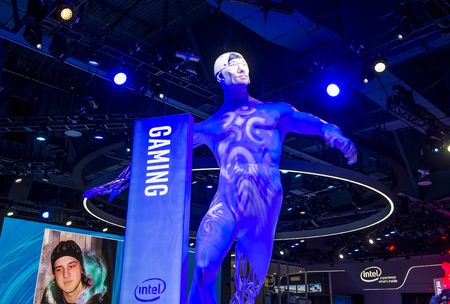 intel: LAS VEGAS - JAN 08 : The Intel booth at the CES show held in Las Vegas on January 08 2016, CES is the worlds leading consumer-electronics show.