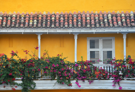 architectural heritage of the world: CARTAGENA , COLOMBIA - FEB 04 : Architectural details in Cartagena Colombia on Februery 04 2016. The historic port city Cartagena is UNESCO World Heritage Site since 1984.