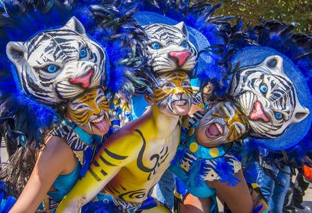 Barranquilla, Colombia - FEB 07: I partecipanti al Carnevale di Barranquilla a Barranquilla, Colombia il 07 Febbraio 2016. Carnevale di Barranquilla è uno dei più grandi carnevale del mondo Editoriali
