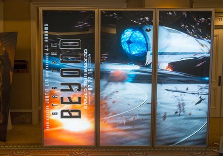 caesars palace: LAS VEGAS - April 13 : A display for the movie Star Trek Beyond at Caesars Palace during CinemaCon, the official convention of the National Association of Theatre Owners, on April 13, 2016 in Las Vegas Editorial