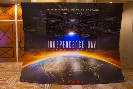 LAS VEGAS - April 13 : A display for the movie Independence day resurgence at Caesars Palace during CinemaCon, the official convention of the National Association of Theatre Owners, on April 13, 2016 in Las Vegas