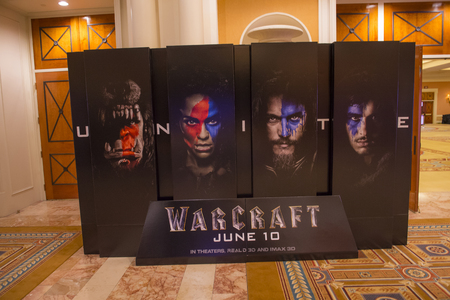 caesars palace: LAS VEGAS - April 13 : A display for the movie Warcraft at Caesars Palace during CinemaCon, the official convention of the National Association of Theatre Owners, on April 13, 2016 in Las Vegas