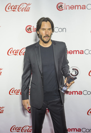 recipient: LAS VEGAS - APRIL 14 : Actor Keanu Reeves, recipient of the Vanguard Award, attends the CinemaCon Big Screen Achievement Awards at The Caesars Palace on April 14 2016 in Las Vegas