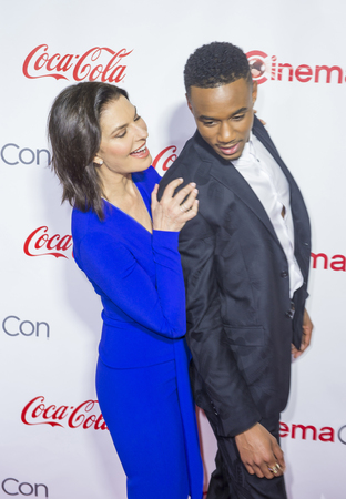 usher: LAS VEGAS - APRIL 14 : Actress Sela Ward (L) and actor Jessie Usher attend the CinemaCon Big Screen Achievement Awards at The Caesars Palace on April 14 2016 in Las Vegas