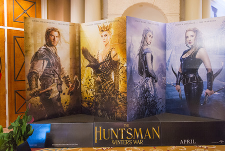 caesars palace: LAS VEGAS - April 13 : A display for the movie The Huntsman at Caesars Palace during CinemaCon, the official convention of the National Association of Theatre Owners, on April 13, 2016 in Las Vegas