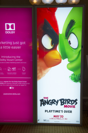 caesars palace: LAS VEGAS - April 13 : A display for the movie Angry Birds at Caesars Palace during CinemaCon, the official convention of the National Association of Theatre Owners, on April 13, 2016 in Las Vegas