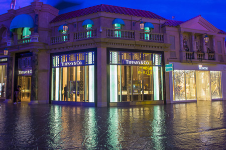 jewelry store: LAS VEGAS - APRIL 13 : Exterior of an Tiffanys store in Caesars Palace hotel in Las Vegas on April 13 , 2016. Tiffanys is an American multinational luxury jewelry retailer.
