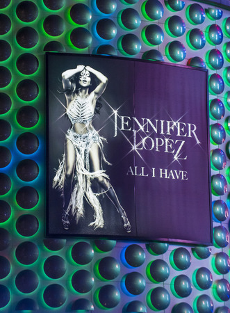 live band: LAS VEGAS - APRIL 13 : The Jennifer Lopez show poster at Planet Hollywood Resort on Apeil 13 , 2016 in Las Vegas. The two hour show include a live band, dancers and it include Jennifer Lopez top songs.