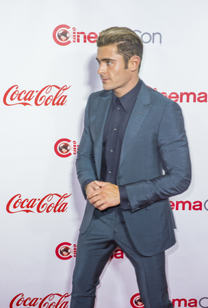 caesars palace: LAS VEGAS - APRIL 14 : Actor Zac Efron , one of the recipients of the Comedy Stars of the Year Award, attends the CinemaCon Big Screen Achievement Awards at The Caesars Palace on April 14 2016 in Las Vegas Editorial