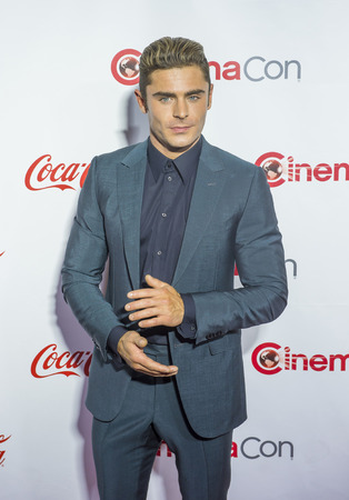 arts culture and entertainment: LAS VEGAS - APRIL 14 : Actor Zac Efron , one of the recipients of the Comedy Stars of the Year Award, attends the CinemaCon Big Screen Achievement Awards at The Caesars Palace on April 14 2016 in Las Vegas Editorial