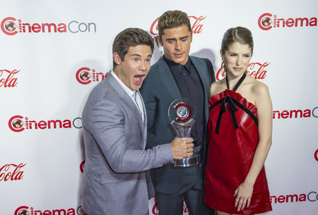 big screen: LAS VEGAS - APRIL 14 : (L-R) Actors Adam DeVine, Zac Efron and Anna Kendrick recipients of the Comedy Stars of the Year Award, attend the CinemaCon Big Screen Achievement Awards at The Caesars Palace on April 14 2016 in Las Vegas