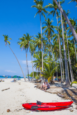 acres: TORTUGA ISLAND , COSTA RICA - MARCH 25 : Tropical beach in Tortuga island Costa Rica on March 25 2016. The island covers approximately 300 acres and includes forests and beaches