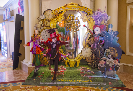 caesars palace: LAS VEGAS - April 13 : A display for the movie alice through the looking glass at Caesars Palace during CinemaCon, the official convention of the National Association of Theatre Owners, on April 13, 2016 in Las Vegas