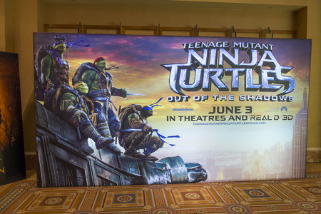 caesars palace: LAS VEGAS - April 13 : A display for the movie Ninja Turtles at Caesars Palace during CinemaCon, the official convention of the National Association of Theatre Owners, on April 13, 2016 in Las Vegas