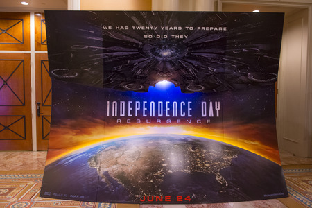 caesars palace: LAS VEGAS - April 13 : A display for the movie Independence day resurgence at Caesars Palace during CinemaCon, the official convention of the National Association of Theatre Owners, on April 13, 2016 in Las Vegas