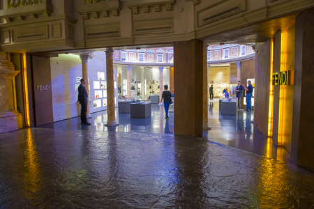 caesars palace: LAS VEGAS - APRIL 13 : Exterior of a Fendi store in Caesars Palace hotel in Las Vegas on April 13 , 2016.  Fendi is a multinational luxury goods brand owned by LVMH Moet Hennessy Louis Vuitton.