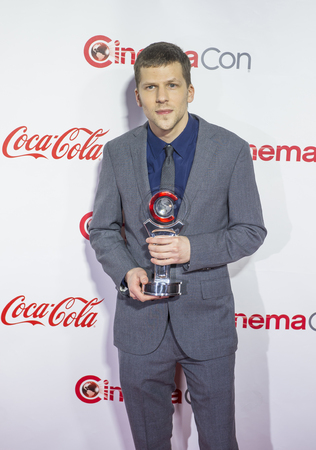 caesars palace: LAS VEGAS - APRIL 14 : Actor Jesse Eisenberg, recipient of the Male Star of the Year Award, attends the CinemaCon Big Screen Achievement Awards at The Caesars Palace on April 14 2016 in Las Vegas