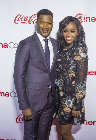 caesars palace: LAS VEGAS - APRIL 14 : Director Nate Parker (L), recipient of the Breakthrough Director of the Year Award, and actress Aja Naomi King attend the CinemaCon Big Screen Achievement Awards at The Caesars Palace on April 14 2016 in Las Vegas