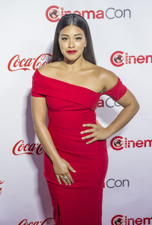 recipient: LAS VEGAS - APRIL 14 : Actress Gina Rodriguez, recipient of the Female Star of Tomorrow Award, attends the CinemaCon Big Screen Achievement Awards at The Caesars Palace on April 14 2016 in Las Vegas Editorial