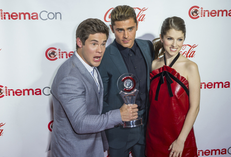 caesars palace: LAS VEGAS - APRIL 14 : (L-R) Actors Adam DeVine, Zac Efron and Anna Kendrick recipients of the Comedy Stars of the Year Award, attend the CinemaCon Big Screen Achievement Awards at The Caesars Palace on April 14 2016 in Las Vegas