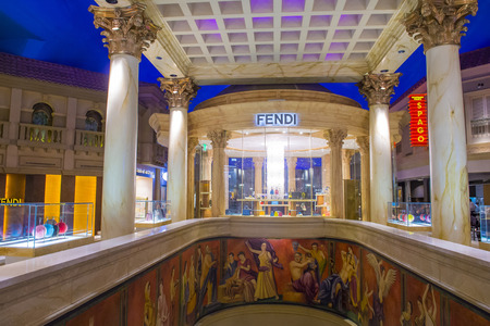 LAS VEGAS - APRIL 13 : Exterior of a Fendi store in Caesars Palace hotel in Las Vegas on April 13 , 2016.  Fendi is a multinational luxury goods brand owned by LVMH Moet Hennessy Louis Vuitton.