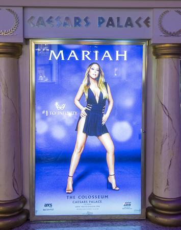 soloist: LAS VEGAS - APRIL 13 : The Mariah Carey  MARIAH 1 TO INFINITY poster on April 13, 2016 in Las Vegas, Nevada. Mariah Carey is best-selling female artist of all time.