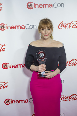 recipient: LAS VEGAS - APRIL 14 : Actress Bryce Dallas Howard, recipient of the Excellence in Acting Award attends the CinemaCon Big Screen Achievement Awards at The Caesars Palace on April 14 2016 in Las Vegas Editorial