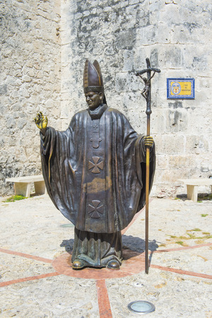 pope: CARTAGENA , COLOMBIA - FEB 04 : The statue of Pope John Paul II in Cartagena Colombia on Februery 04 2016.  The statue dedicated to Pope John Paul II for his 1986 visit in Cartagena. Editorial